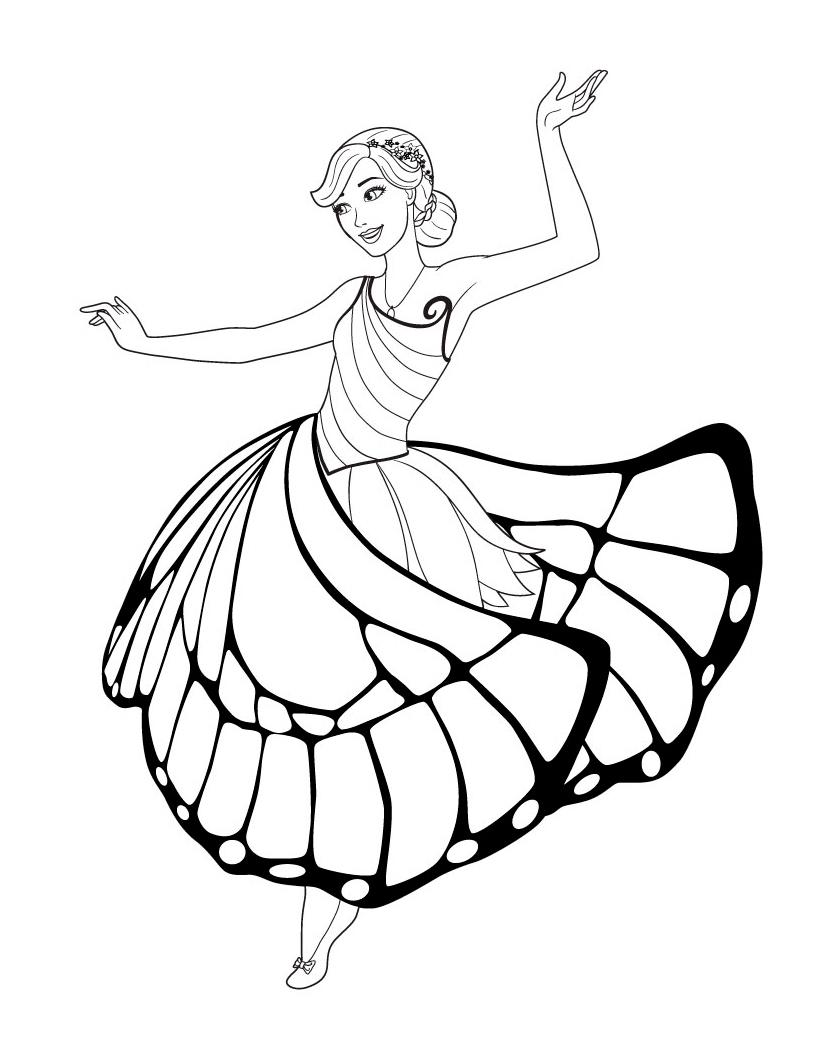 Раскраска Танец Барби распечатать или скачать бесплатно