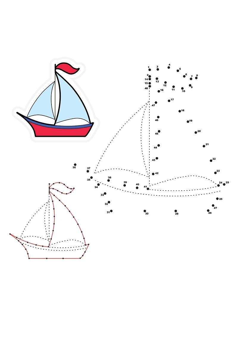 Раскраска Яхта по точкам распечатать или скачать бесплатно