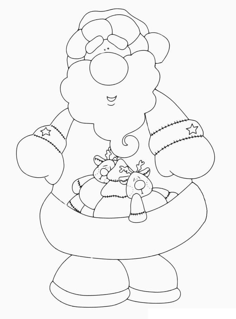 Раскраска Дедушка Мороз с охапкой подарков распечатать или ...
