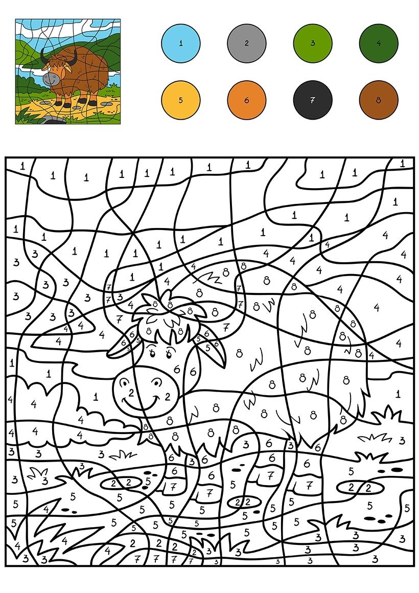 Раскраска Бык по цифрам распечатать или скачать бесплатно