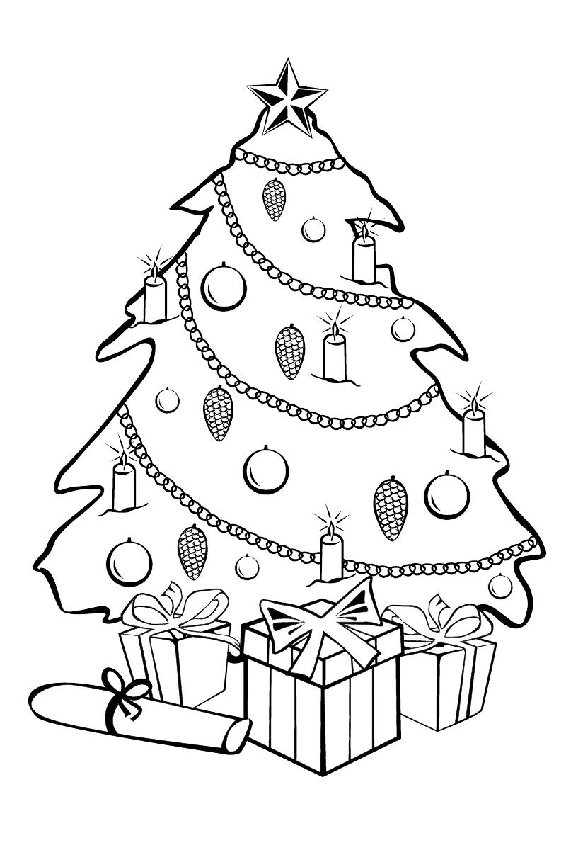 Раскраска Новогодняя ёлка распечатать или скачать бесплатно