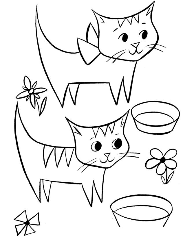 Раскраска Котята и цветы распечатать или скачать бесплатно