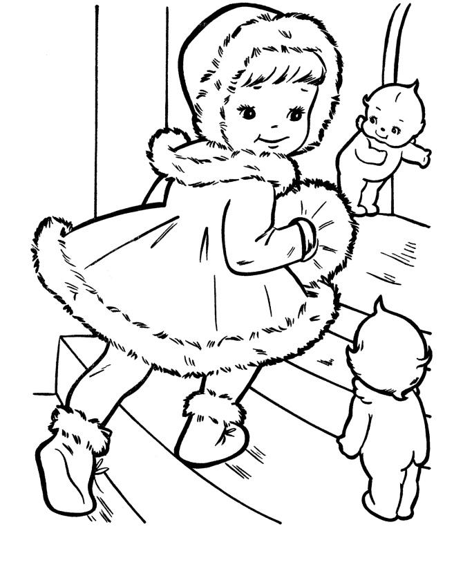 Раскраска Девочка в рождественской меховой шубке ...