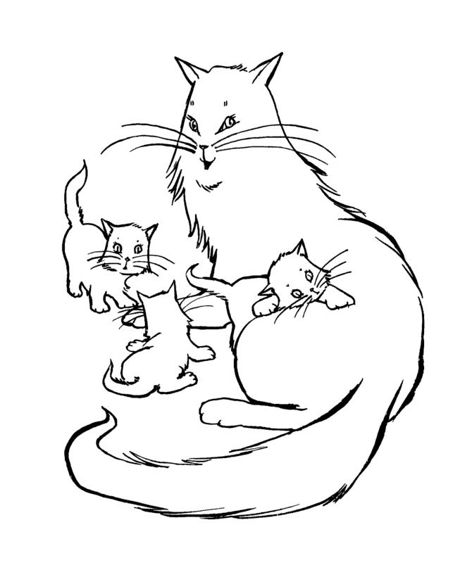 Раскраска Кошка и три маленьких котенка распечатать или ...