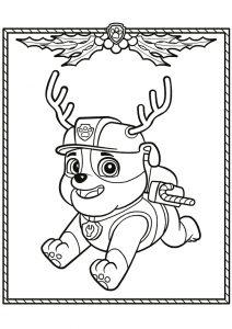 Раскраска Скай на Рождество распечатать или скачать бесплатно