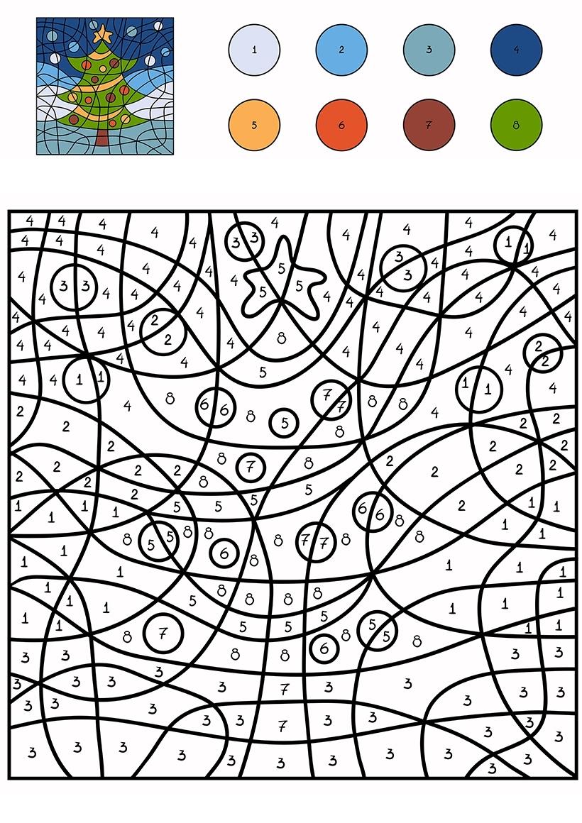 Раскраска Елка по цифрам распечатать или скачать бесплатно