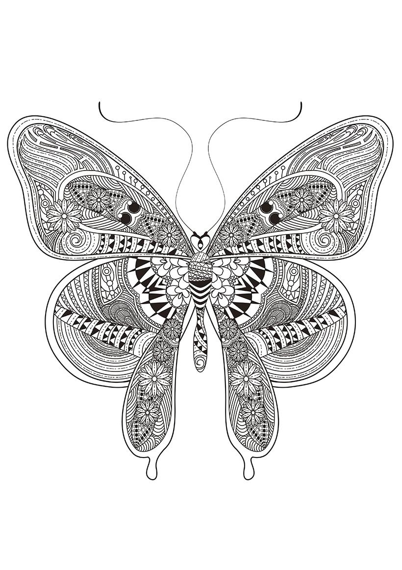 Раскраска Бабочка с цветочными дудлами распечатать или ...