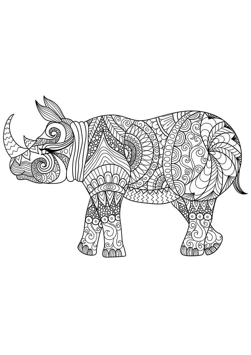 Раскраска Носорог распечатать или скачать бесплатно
