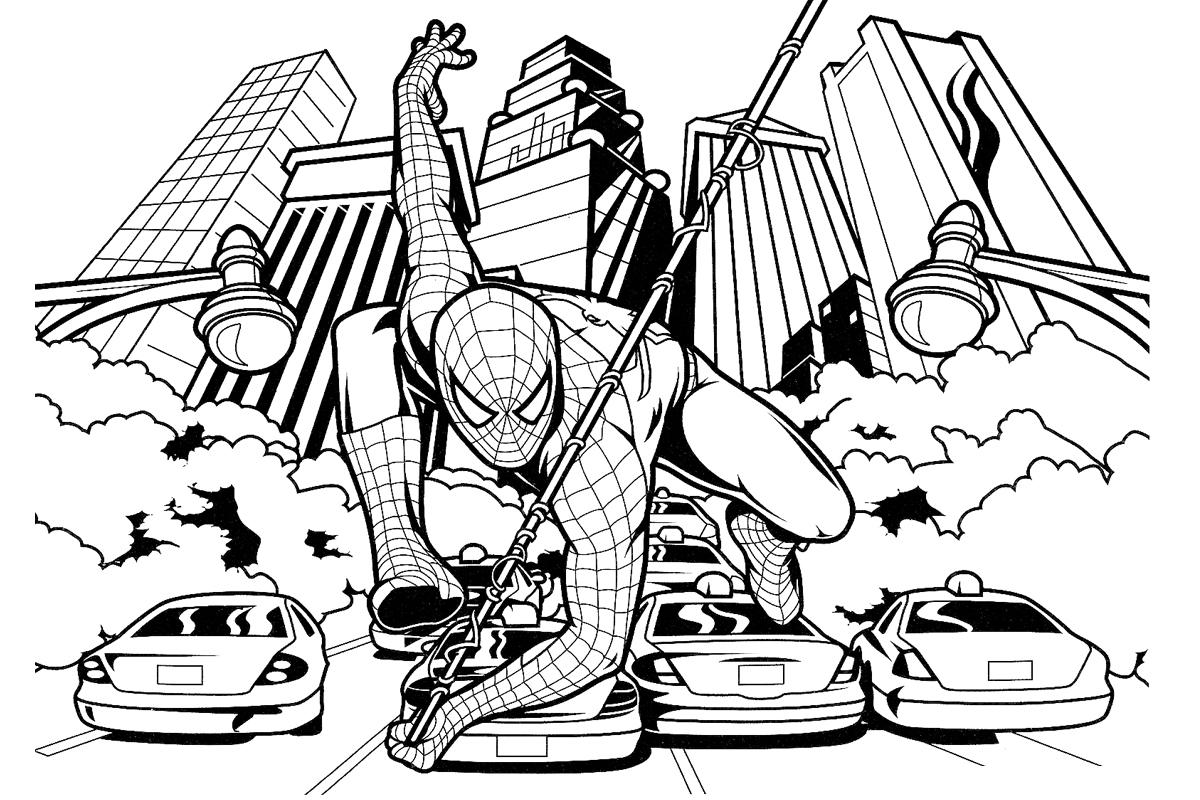 Раскраска Погоня Человека паука распечатать или скачать ...