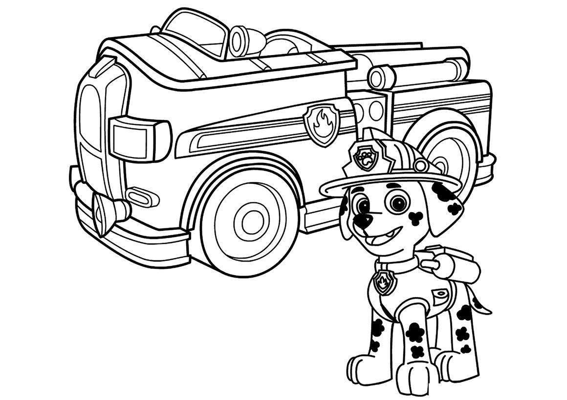 Раскраска Маршал и его машина распечатать или скачать ...