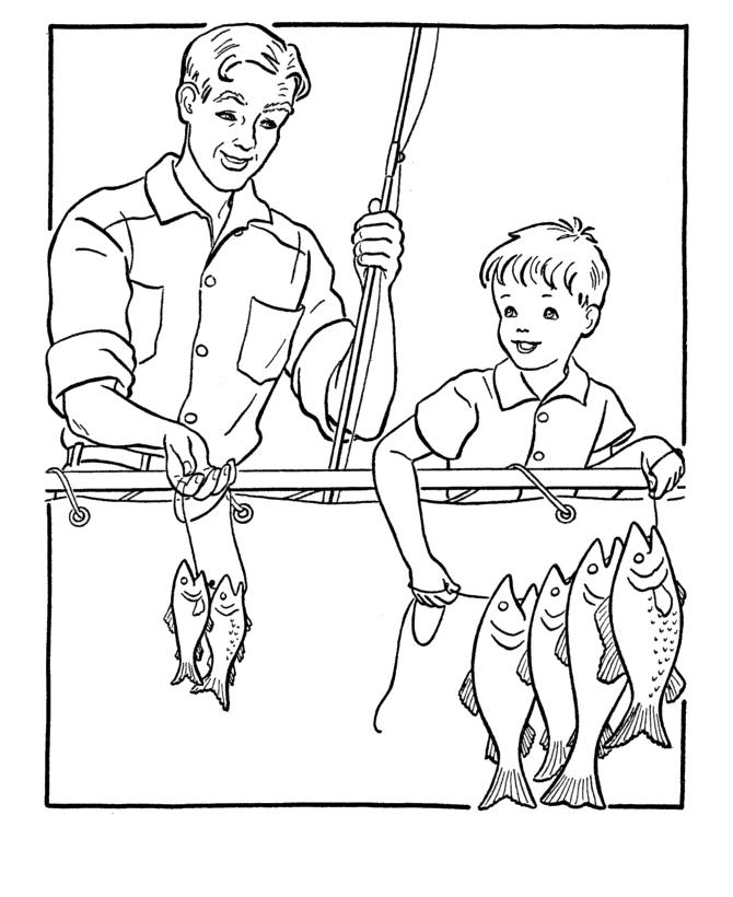 Раскраска Папа и сын на рыбалке 23 февраля распечатать или ...
