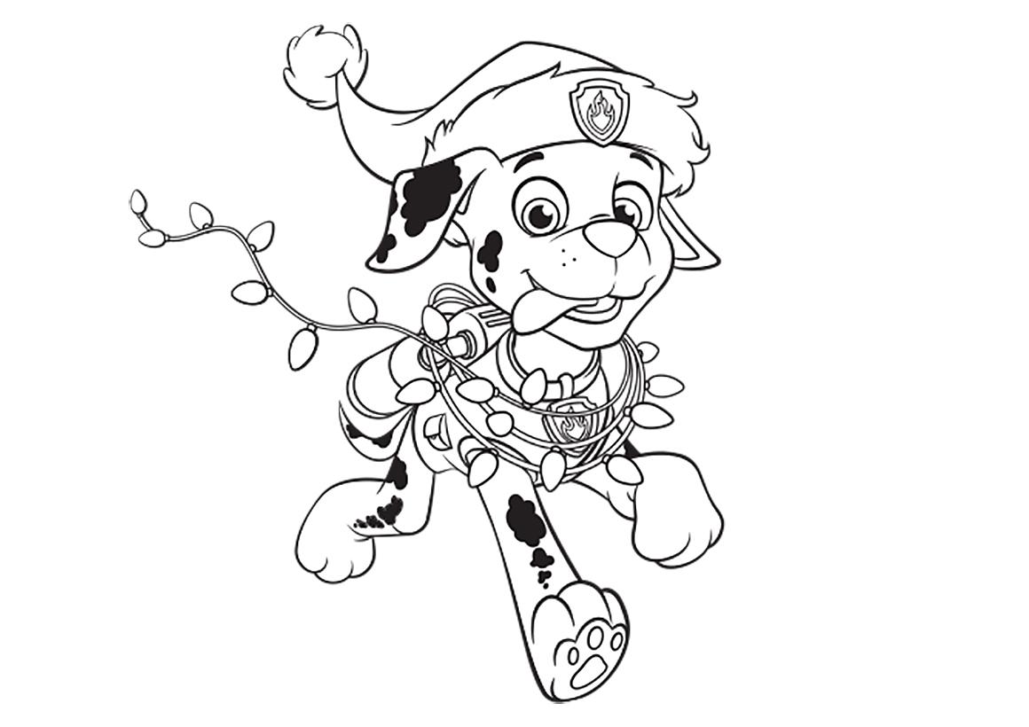 Раскраска Маршал на Новый год распечатать или скачать ...