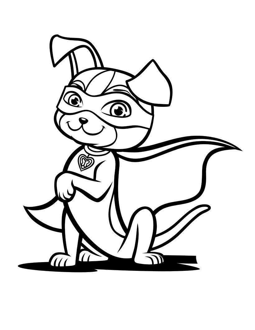 Раскраска Геройская собачка распечатать или скачать бесплатно