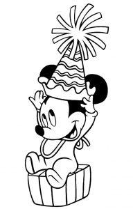 Раскраска Микки Маус спешит на Новый год с подарками ...