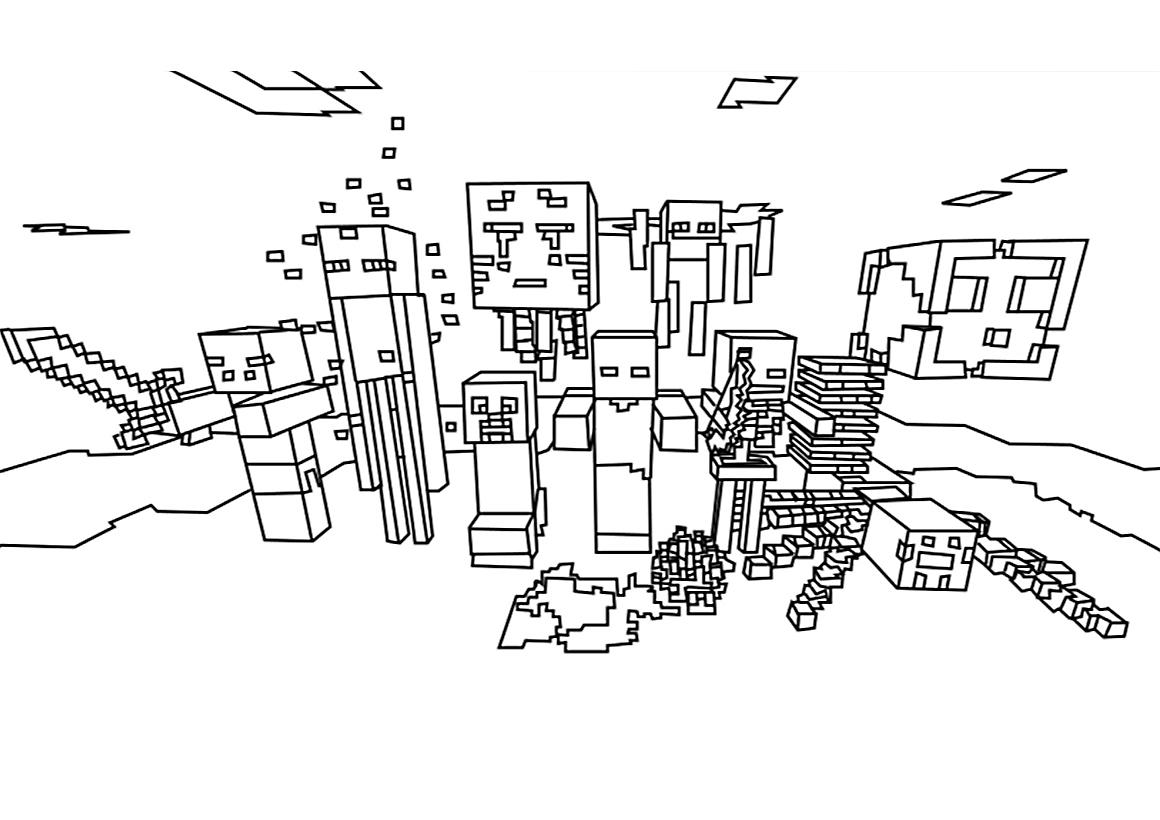 Раскраска Minecraft мобы распечатать или скачать бесплатно