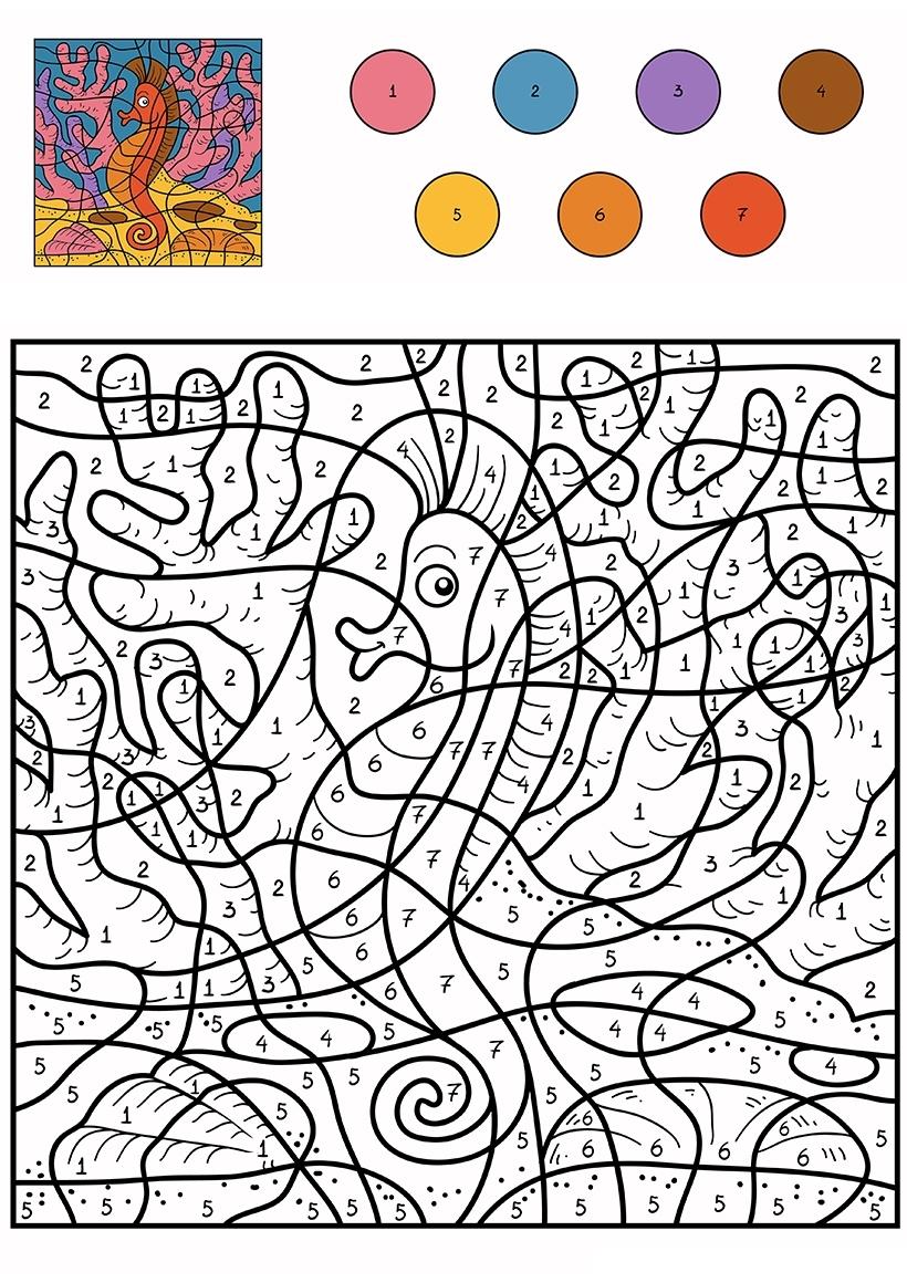 Раскраска Морской конек по цифрам распечатать или скачать ...