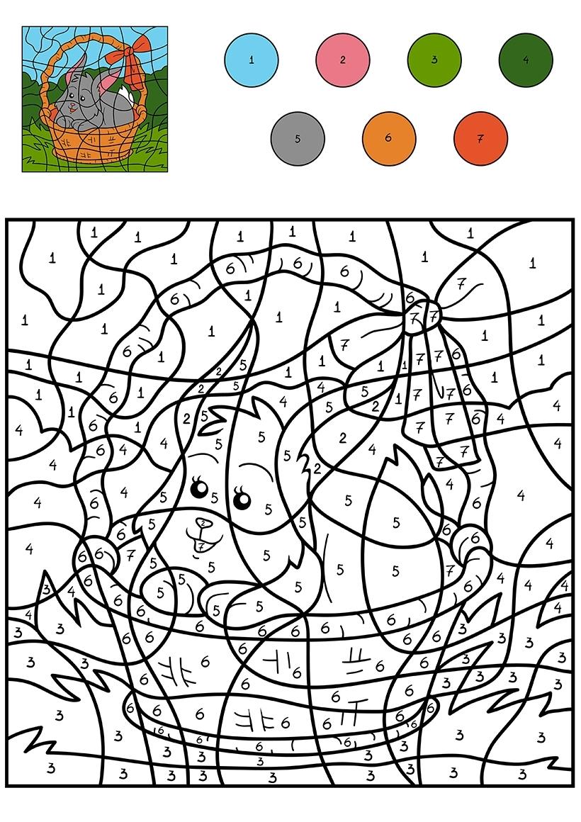 Раскраска Кролик в корзинке по цифрам распечатать или ...