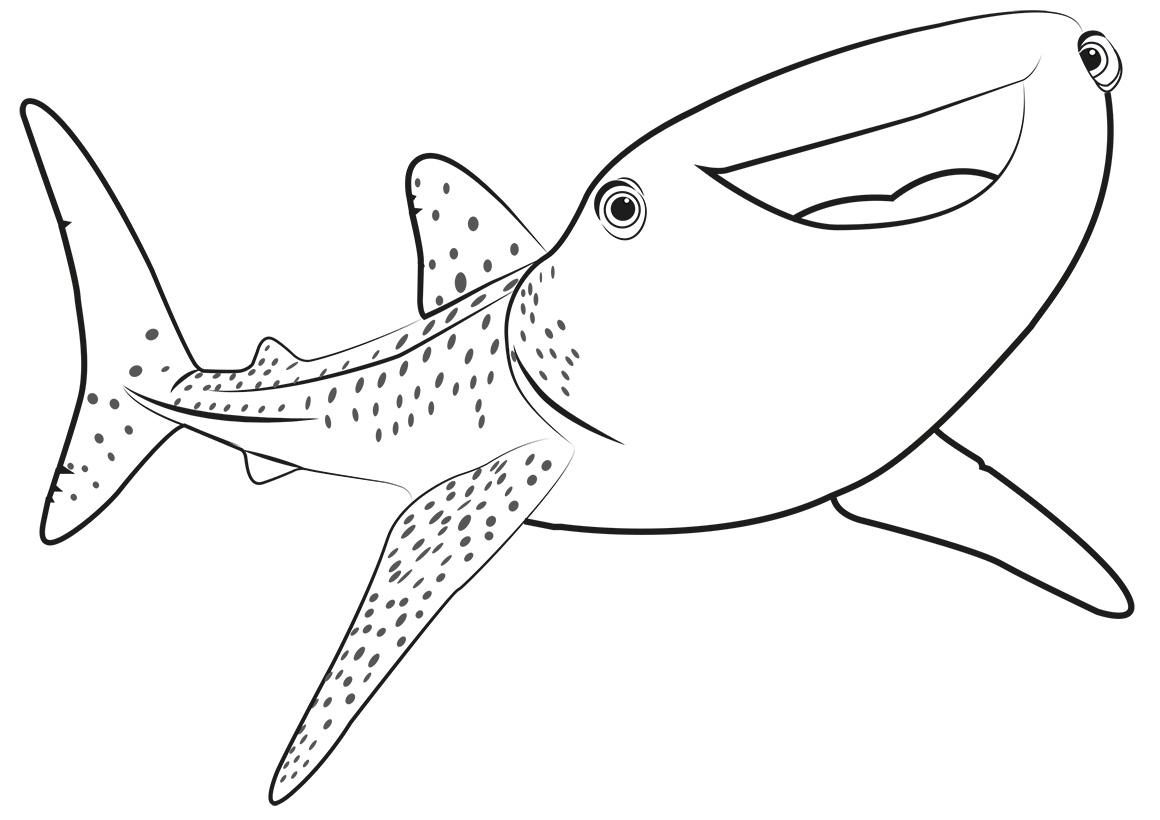Раскраска Китовая акула Судьба распечатать или скачать ...