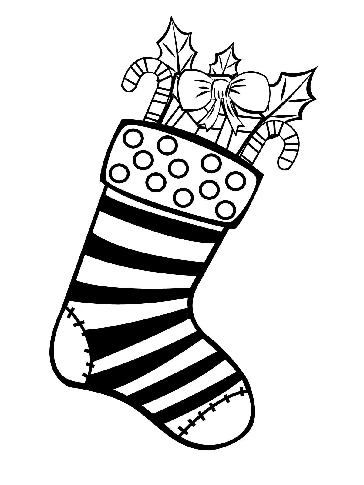 новогодний носок для подарков раскраска