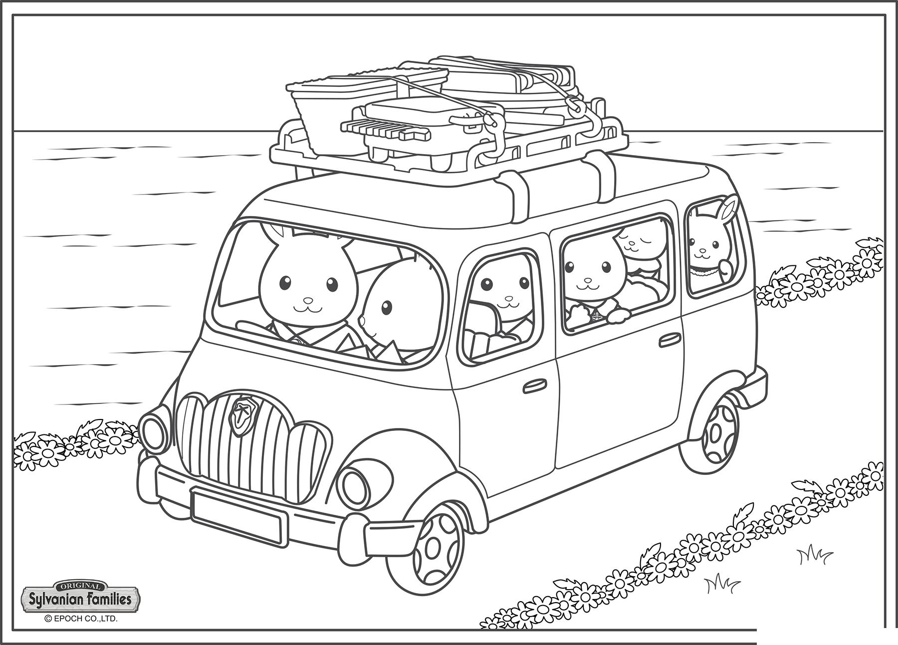 Раскраска Семья в дороге распечатать или скачать бесплатно