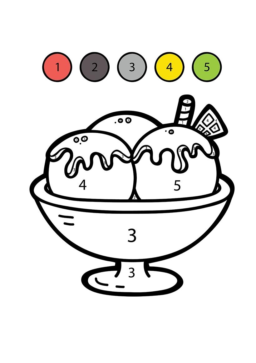 Раскраска Мороженое по цифрам распечатать или скачать ...