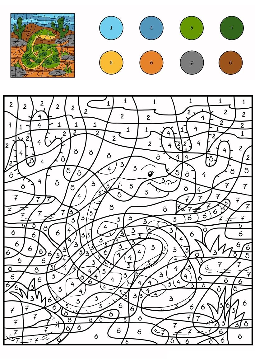 Раскраска Змея по цифрам распечатать или скачать бесплатно