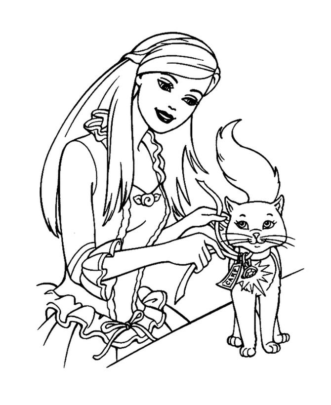 Раскраска Кошка и Барби распечатать или скачать бесплатно