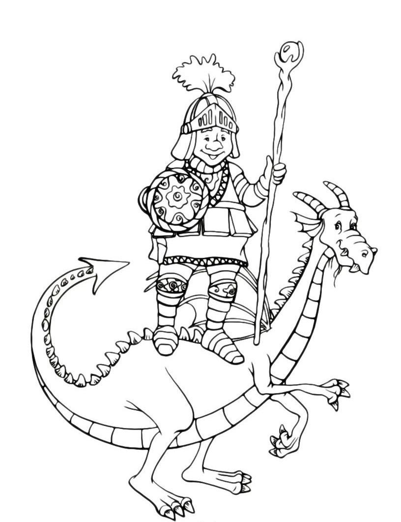 Раскраска Богатырь на спине дракона распечатать или ...