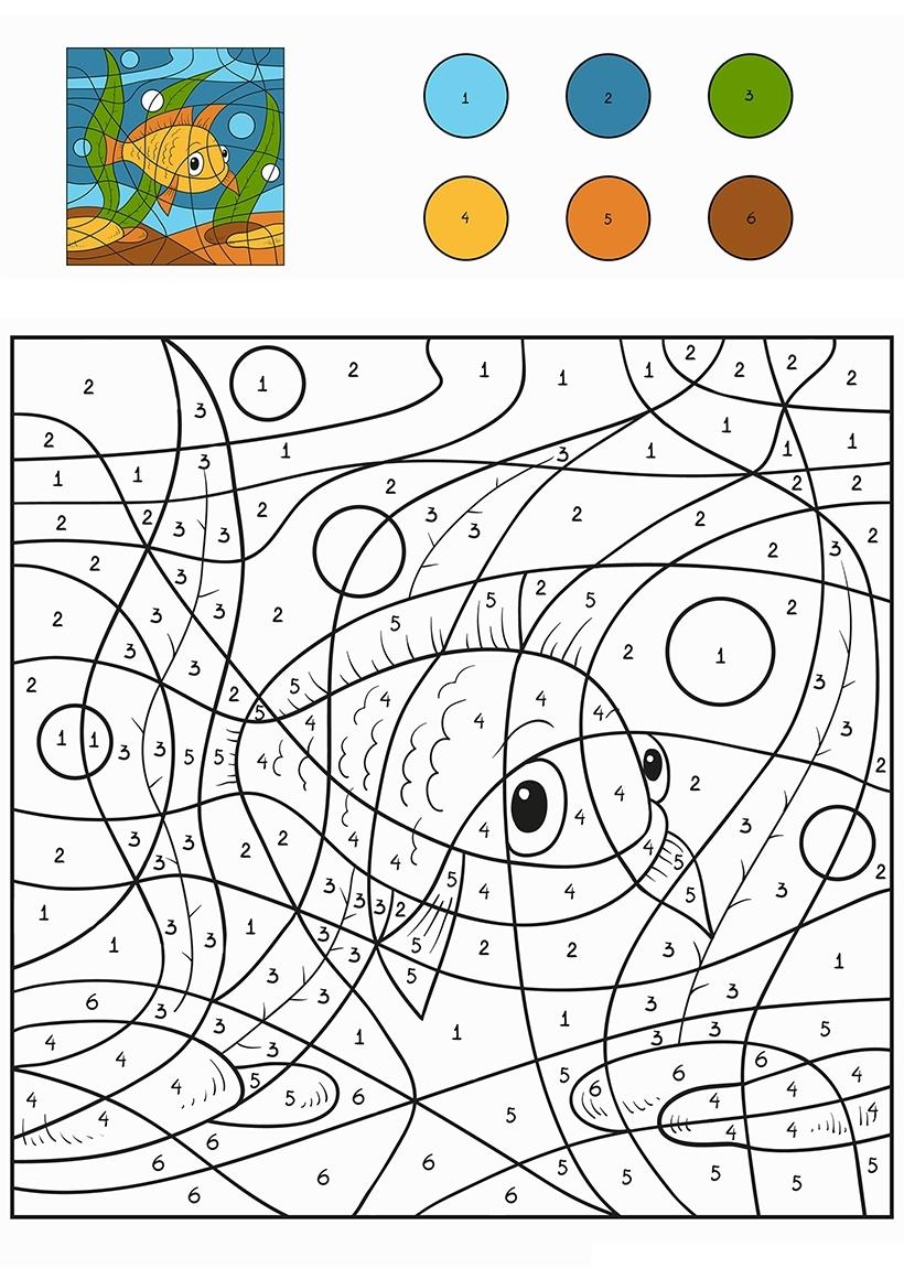 Раскраска Желтая рыбка по цифрам распечатать или скачать ...