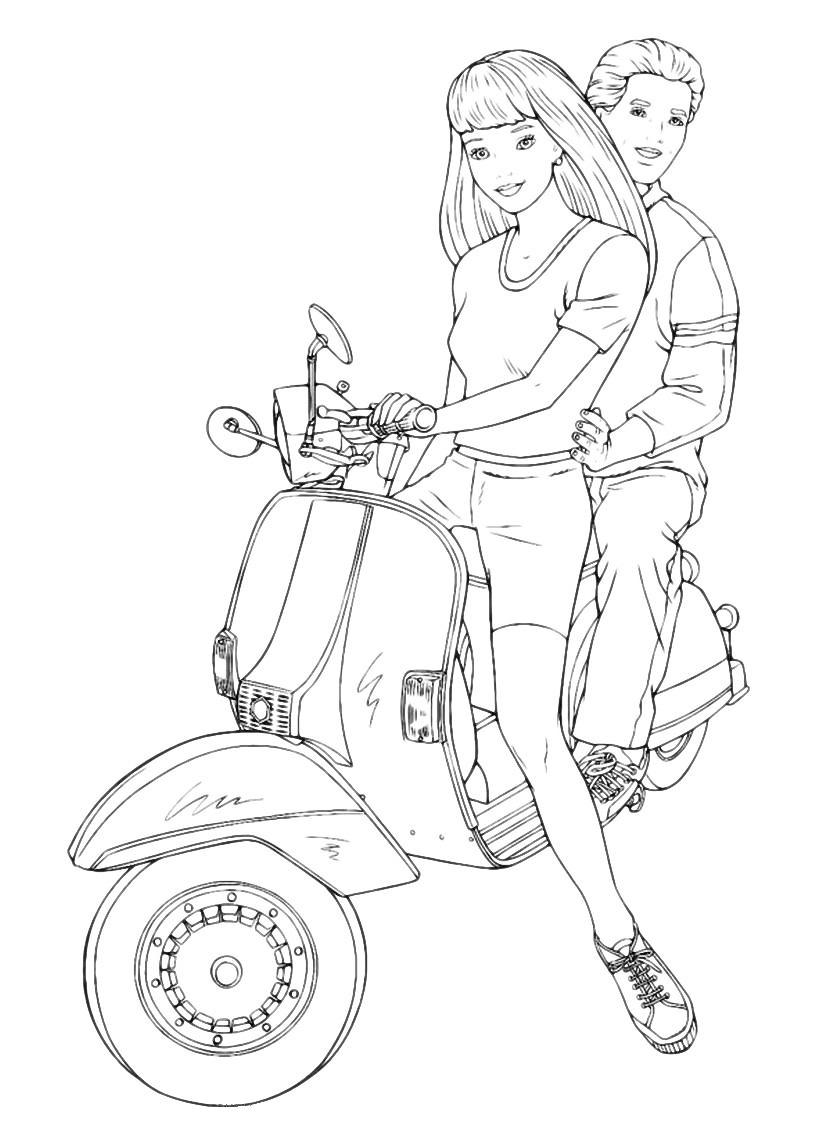 Раскраска Барби с Кеном на мотоцикле распечатать или ...