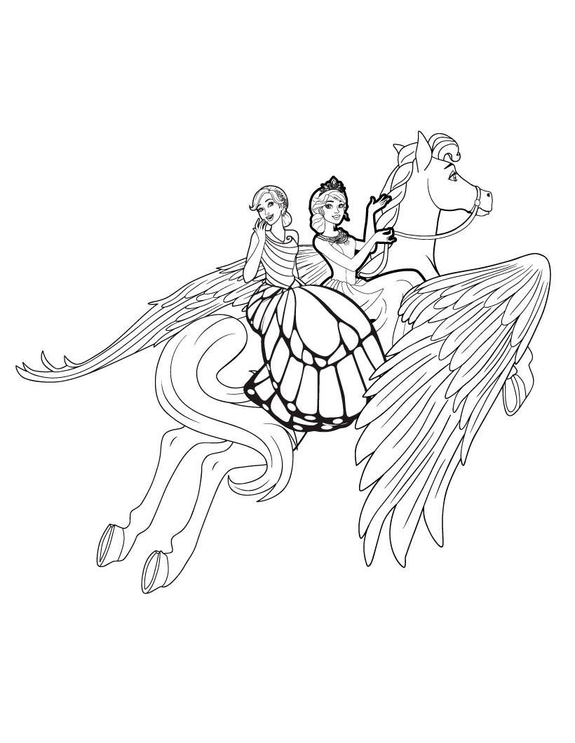 Раскраска Барби и Пегас распечатать или скачать бесплатно