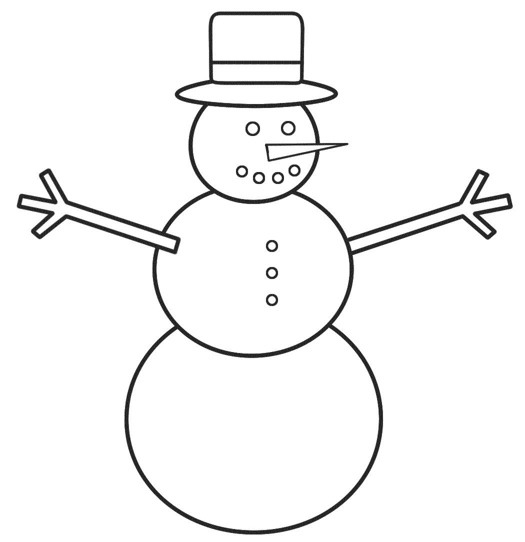 Раскраска Простой Снеговик с ветками-ручками распечатать ...