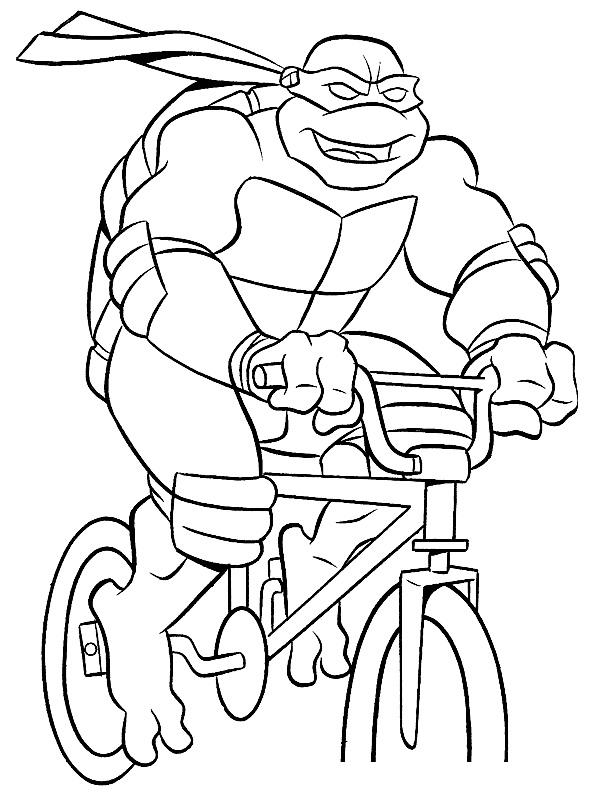 Раскраска Черепашка-Ниндзя на велосипеде распечатать или ...