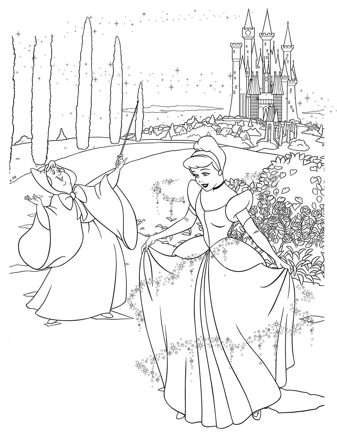 раскраска принцесса диснея золушка и фея распечатать или