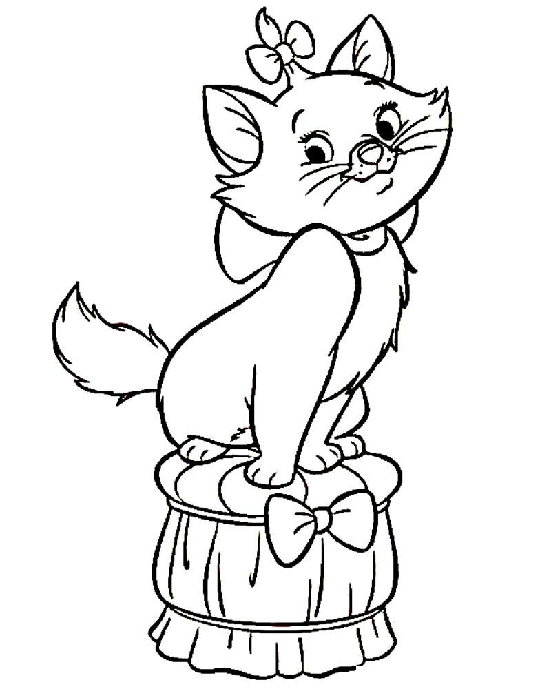 Раскраска Кошечка на подушке распечатать или скачать бесплатно