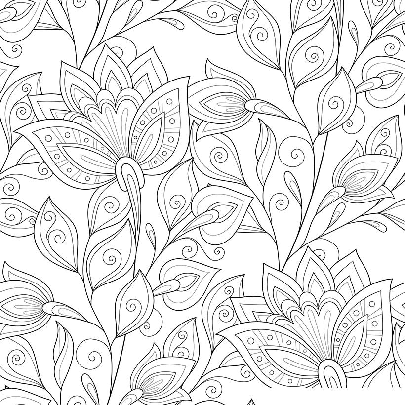 Раскраска Антистресс Нежные цветы распечатать или скачать ...