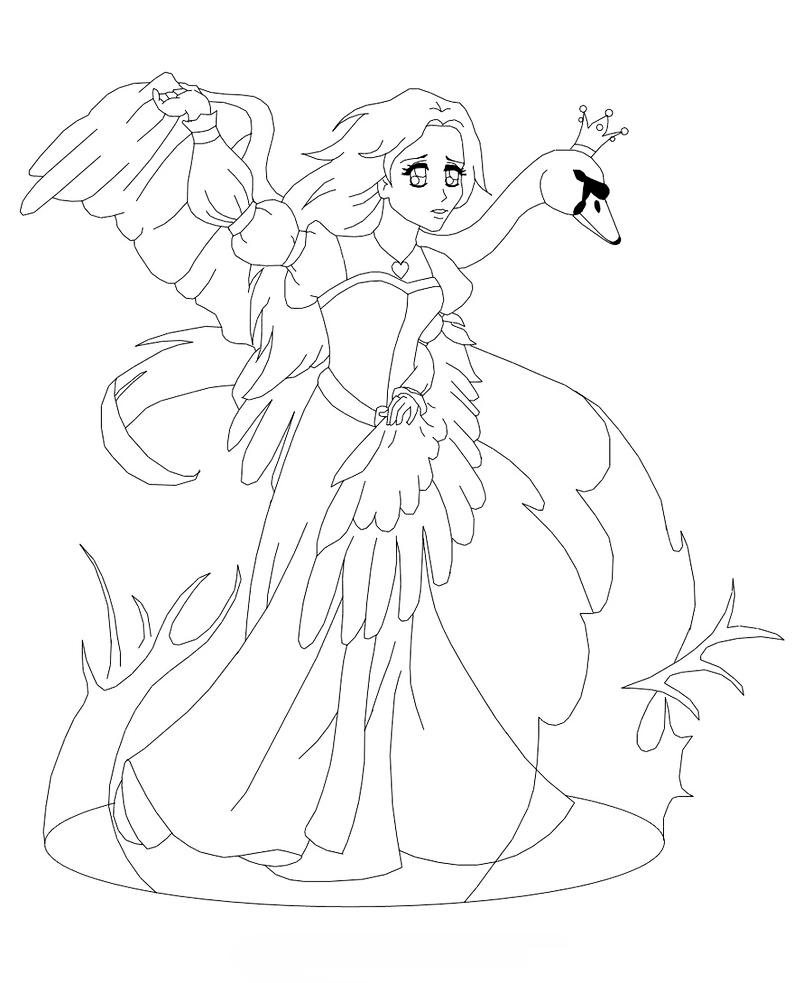 Раскраска Принцесса Лебедь распечатать или скачать бесплатно