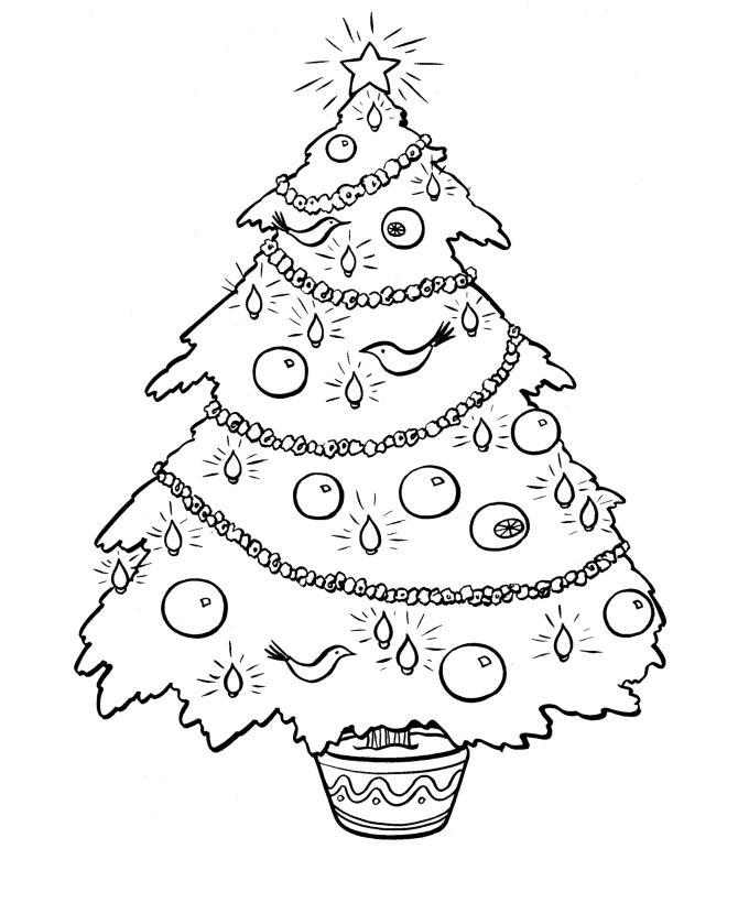 Раскраска Новогодняя елка с шарами и птичками распечатать ...