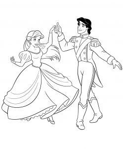Раскраска Ариэль в бальном платье распечатать или скачать ...