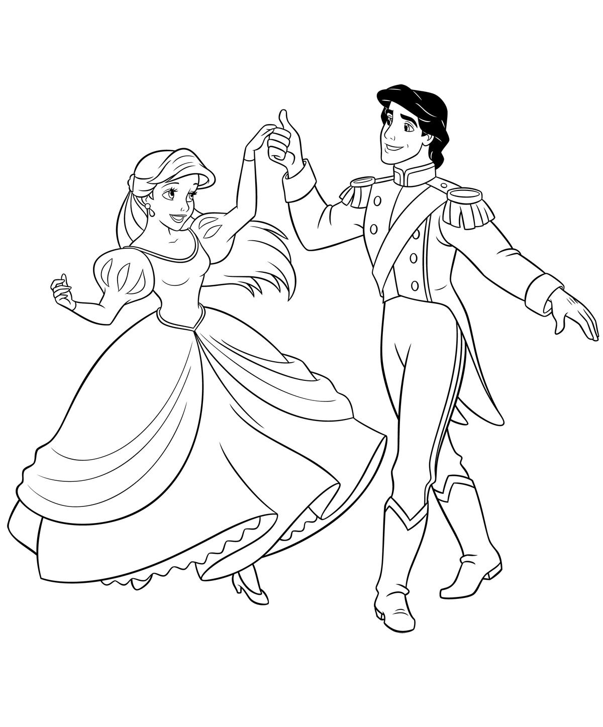 Раскраска Принцесса Ариэль и Эрик распечатать или скачать ...