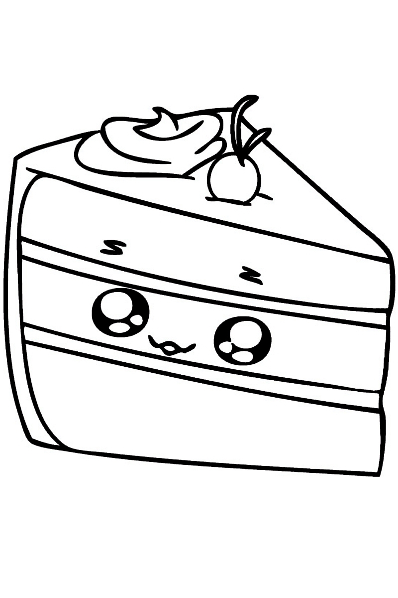 раскраска кусочек торта распечатать или скачать бесплатно