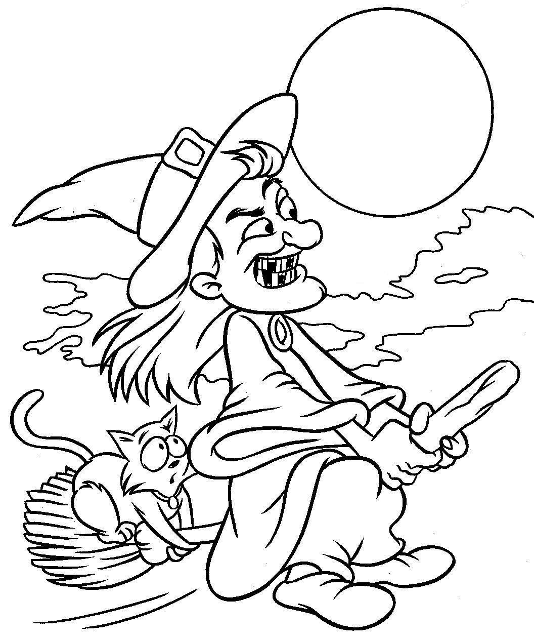 Раскраска Злая старушка летит на Хэллоуин распечатать или ...