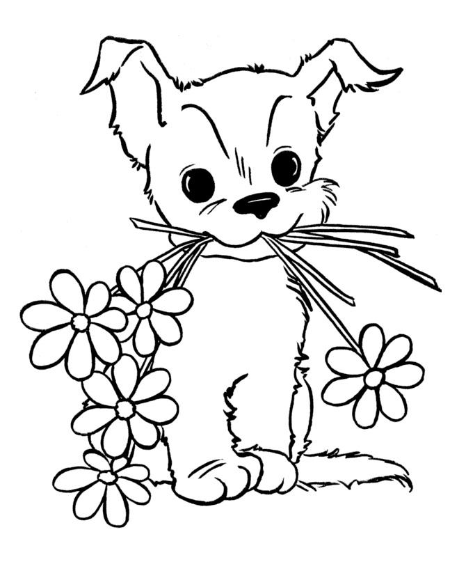 Раскраска Собака и цветы распечатать или скачать бесплатно
