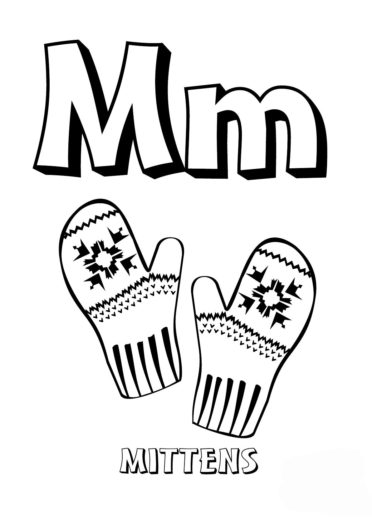 раскраска буква M английского алфавита распечатать или
