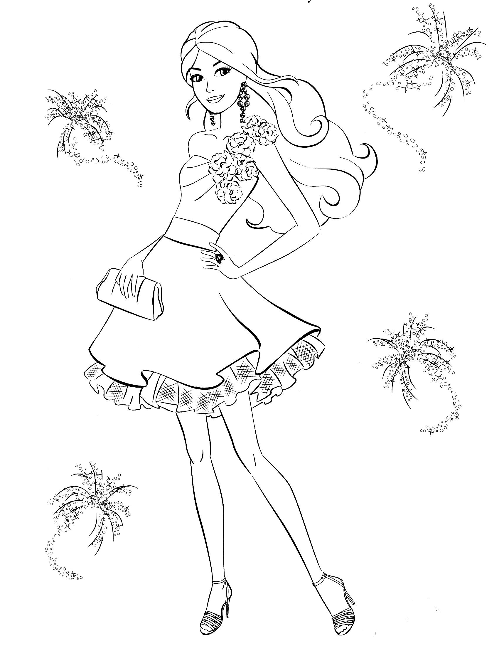 Раскраска Модное платье Барби распечатать или скачать ...