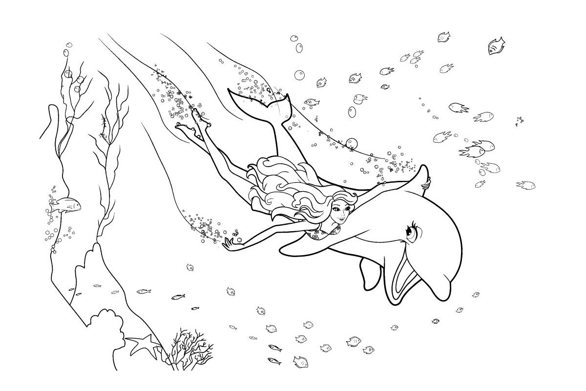 Раскраска Русалочка и дельфин распечатать или скачать ...