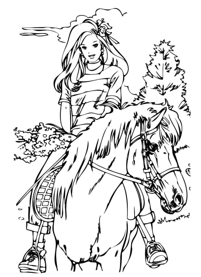 Раскраска Девушка на лошади распечатать или скачать бесплатно