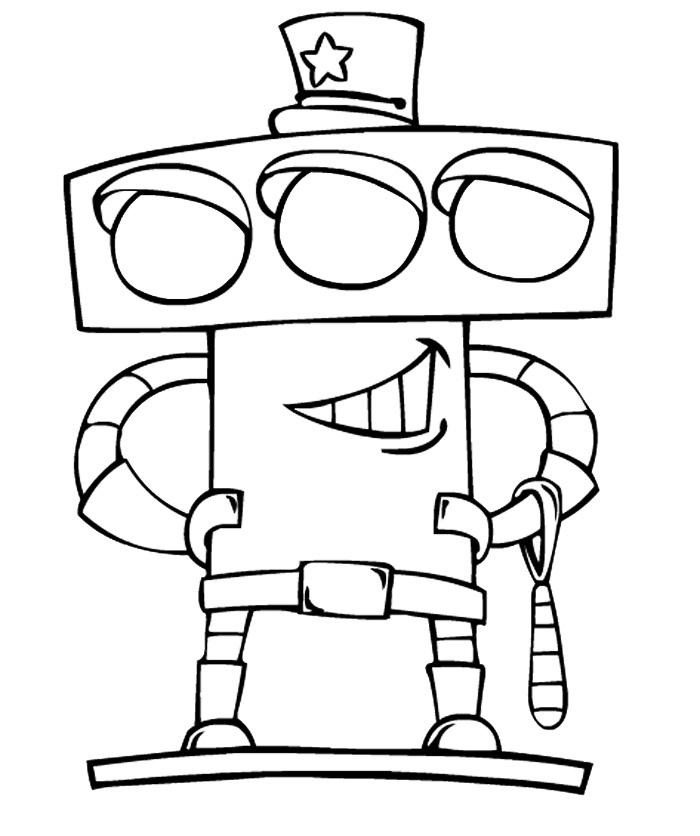 Раскраска Робот-светофор распечатать или скачать бесплатно