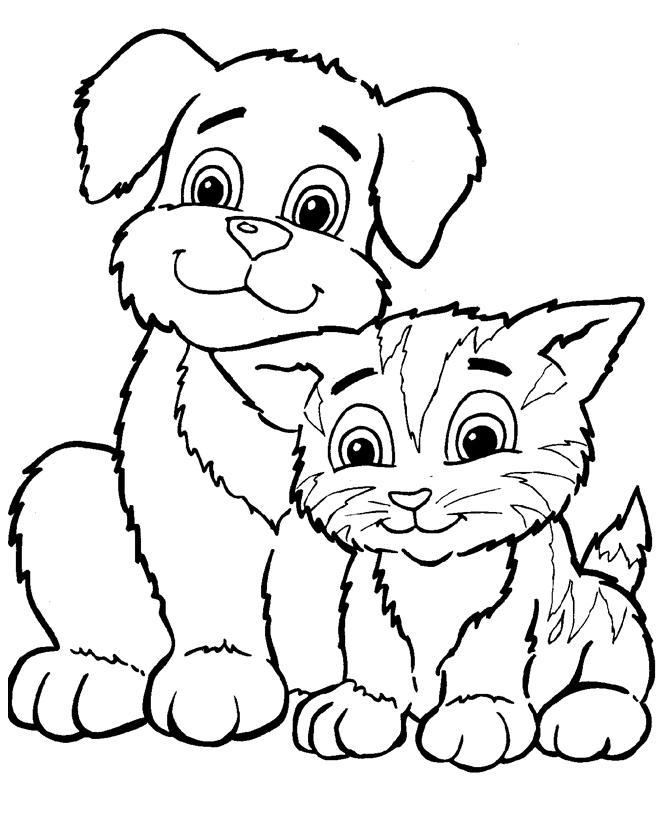 Раскраска Кот и собака распечатать или скачать бесплатно