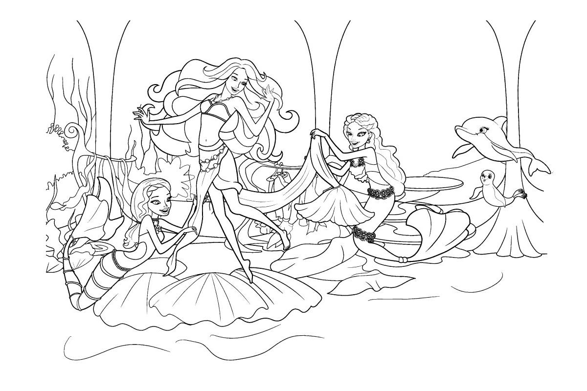 Раскраска Праздник русалочки Барби распечатать или скачать ...